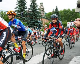 Aspen's Tejay van Garderen heads out to work Tuesday at the start of the second stage of the USA Pro Challenge in downtown Aspen. Van Garderen, the BMC who is the defending overall champion, climbed all the way up to finish third in the stage that finished at Mount Crested Butter — also climbing up to third overall.