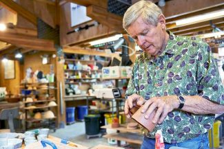 "Anderson Ranch student Don Erdman works Thursday on making a ceramic cup for ""Handbuiling with Birdie Boone, "" one of the many classes offered at the Snowmass Village facility."
