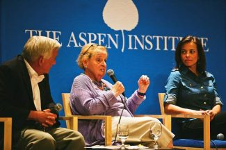 """As part of the Aspen Institute' Hurst Lecture Series, """"Reforming American Public Democracy"""" was held  Monday at Paepcke Auditorium. Former Secretary of State Madeleine Albright addresses a question with Institute CEO Walter Isaacson to her left and Dina Powell to her right. Powell is the head of Goldman Sachs Bank USA's Urban Investment Group."""