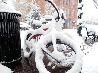Bicycles in front of the Hub of Aspen collected a good dose of on Thursday, as a major storm rolled through the area. But it was the skiers and snowboarders who were rejoicing. From 4 p.m. Wednesday to 4 p.m. Thursday, Aspen Mountain received 15 inches of new snow, while Snowmass picked up 11 inches, according to Aspen Skiing Co.