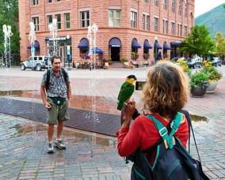 Holding Kiwi, a caique parrot, Tullia Heisenberg, of Del Ray, Florida, photographs her husband Scott in front of the Mill Street fountain on Tuesday. This was Kiwi's first trip on a plane and it arrived in Aspen via a carry-on case.