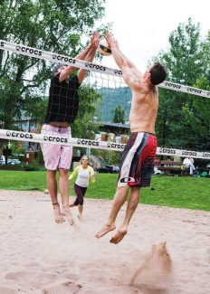 """Aspen resident Eddie Silva and Dan Dolinskas, of Snowmass, play volleyball at Koch Lumber Park on Wednesday. """"We are so lucky to have this park,"""" said Dolinskas."""