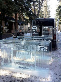 The Escobar ice-sculpture bar was damaged Sunday, when a man knocked off the upper portion of the back bar, which carries the Escobar logo.