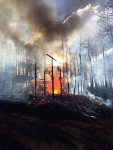 A fire engulfs the Fort Frog cabin on Buttermilk Mountain Sunday evening.