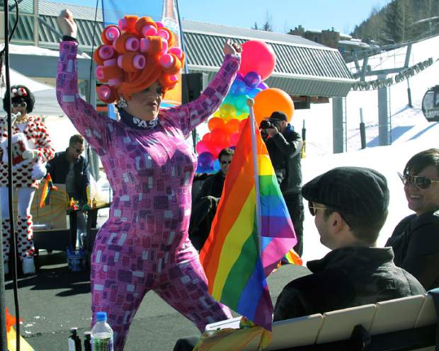 A.J. Makibbin, of Carbondale, performs a dance for the judges at Aspen Gay Ski Week's Downhill Costume Contest. Makibbin's drag queen name is Visa D'Kline.