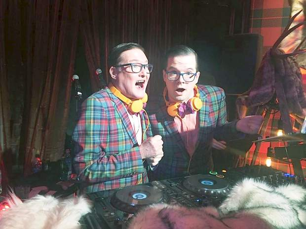 DJ duo Andrew Andrew provided music entertainment at Saturday night's Logo TV New Now Next Honors party at Aspen Gay Ski Week.