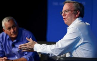 Eric Schmidt, executive chairman of Google, is interviewed by Walter Isaacson, president and CEO of the Aspen Institute, on Tuesday at the Doerr Hosier Center.