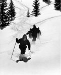Jim Snobble, an Aspen Ski School guide and instructor, leads three people in powder skiing above the timberline at Snowmass in 1967. A note on the back also includes the names Don Rayburn, Bill Mason and Hal Hartman.