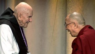 """Father Thomas Keating, left, founder of St. Benedict's Monastery in Old Snowmass, with His Holiness the Dalai Lama at a 2012 event in Boston. Keating is the subject of """"Thomas Keating: A Rising Tide of Silence,"""" showing today at Aspen Filmfest."""