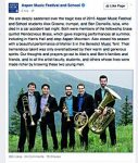 The tuba player, far right, Ben Darneille, and the trumpet player, in the middle, is Alex Greene. Both Aspen Music School students reportedly died Monday night in a car accident in Wyoming.