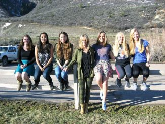 The Basalt High School Longhorn Roundup staff was, left to right, Katie Hankinson, senior; Arielle Lyons, senior; Genevieve Lawry, senior; Sheryl Barto, adviser; Oriah Clarke, freshman; Kaity Johnson, sophomore; and Hailey Swirbul, sophomore.