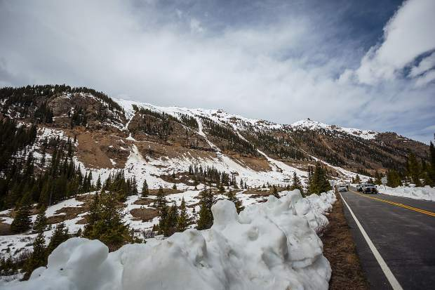 The ridgline above the Beeler incline on the Twin Lakes side of the pass has many slide paths that needed mitigation Friday.