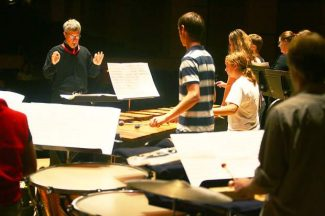 """The Aspen Percussion Ensemble will give its annual recital tonight at Harris Concert Hall. The program includes a performance of """"Abyss of Time,"""" accompanying a film by artist Rita Blitt."""