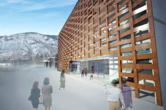 This architect's rendering depicts the main entrance of the Aspen Art Museum's new building in the city's commercial core. The museum is scheduled to open to the public on August 9, 2014.
