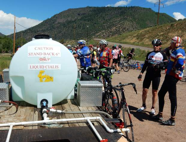 This water tank proved to be popular Sunday with many of the older fellows on the Ride the Rockies tour.