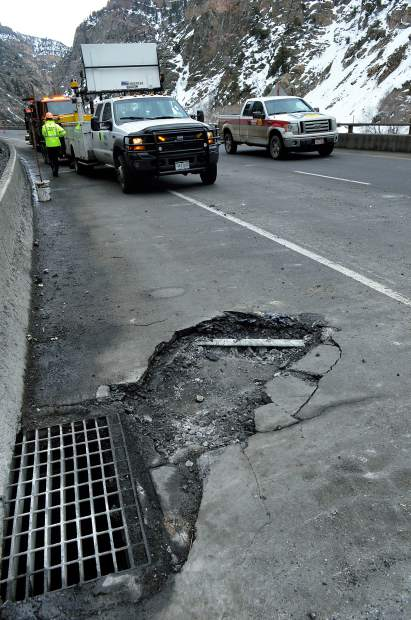 Boulders falling onto Interstate 70 west of Hanging Lakes took out large chunks of asphalt. Colorado Department of Transportation crews seals these damaged spots with a temporary