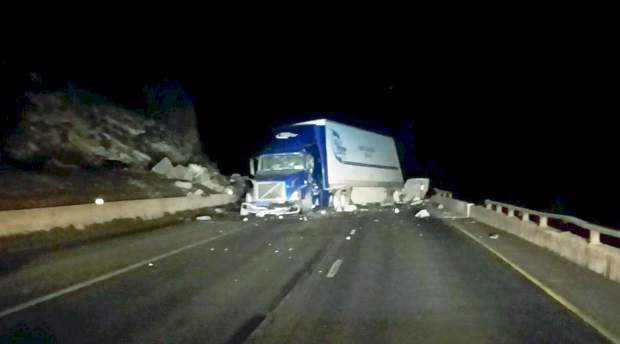 This semi was headed west on Interstate 70 through Glenwood Canyon on Monday evening when it was caught in a major rockfall.