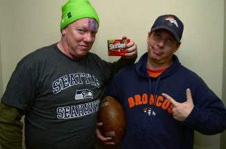 Mike McLaughlin of the Aspen Times, left, and Jon Mitchell of the Glenwood Springs Post Independent, have a bet going for Super Bowl XLVIII. The loser of the bet — the one who watches his team lose — will have something embarassing to do on Feb. 3.
