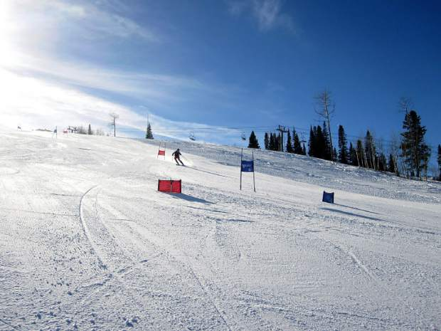 A ski racer with the Park City Ski Team takes a training run on Golden Horn at Aspen Highlands this week. Visiting ski teams and World Cup racer can train alongside AVSC racers at the Stapleton Training Center at Aspen Highlands.
