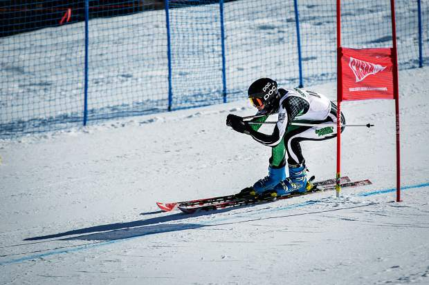 Summit's Cameron Berget race in the boys giant slalom Thursday at the state prep ski meet.