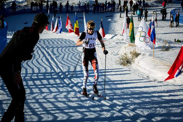 Aspen's Jack Sweeney skis to a fourth-place finish in the 5-kilometer classic Thursday at the state high school skiing championships.
