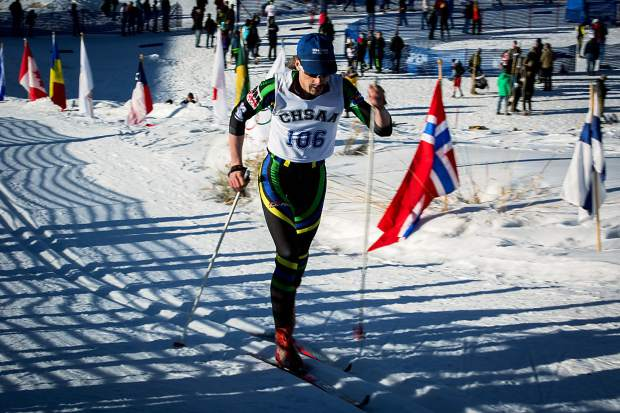 Oliver Trowbridge of Summit High School races in the state championships in Aspen on Thursday. He finiished 11th in the boys 5K classic race.
