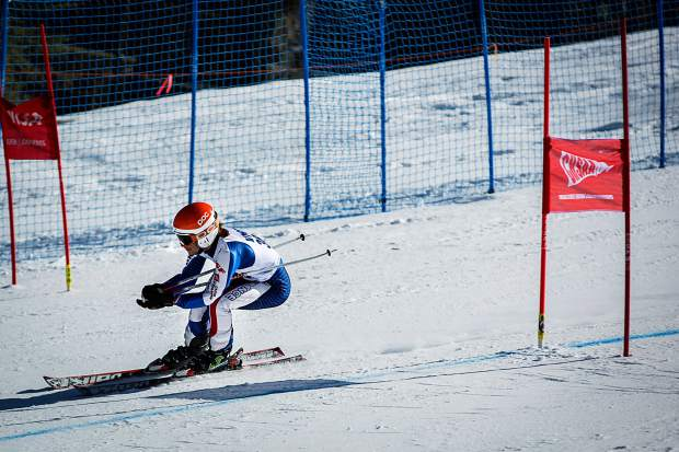 Peter Mitchell of Vail Mountain School tackles the GS course at the state meet in Aspen on Thursday.