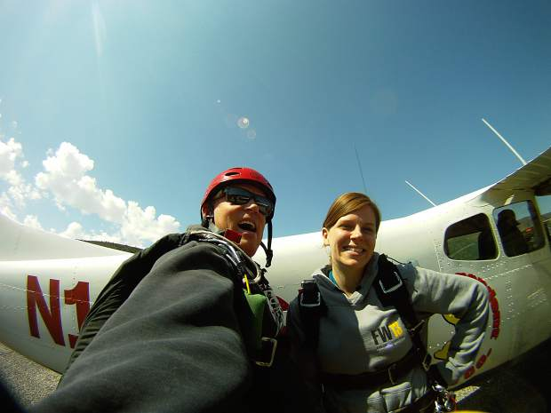 The Post Independent's fearless entertainment editor Jessica Cabe prepares to enter the plane with Jeremy Divan, the owner of Roaring Fork Skydivers.