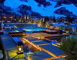 Guests that stay at the Residences at The Little Nell also get to enjoy the rooftop pools and views of Aspen Mountain.