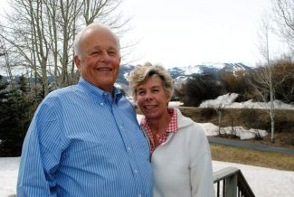 Jim and Bianca Hooker on the patio at their home in Snowmass Village, where they have lived since 1975.