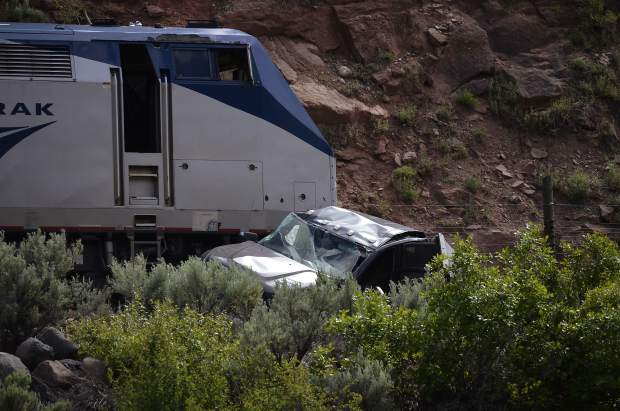 The driver of the truck struck Tuesday by the California Zephyr escaped with only minor injuries.