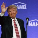 Republican presidential candidate Donald Trump waves after speaking to the National Association of Home Builders on Thursday. He is scheduled to appear in Aspen for a private fundraiser on Aug. 25.