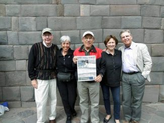 Leo and Carol Fishman, cousins of Aspen resident Sy Coleman, Sy Coleman, and Old Snowmass residents Frieda and Peter Wallison hold up an Aspen Times on Jan. 29 in front of one of the old Inca walls in Cuzco, Peru. The Fishmans and the Wallisons were visiting Cuzco, where Sy Coleman resides for part of the year, as part of a Harvard Alumni Association trip to Peru. If you have a photo of you and/or your friends or relatives with a copy of The Aspen Times in a faraway spot (west of the roundabout or east of Difficult Campground will do), send it to rcarroll@aspentimes.com, and look for it in an upcoming Sunday edition.