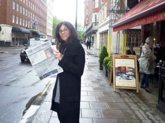 Renowned photographer Lynn Goldsmith, who owns and operates a gallery in Basalt, enjoys The Aspen Times while in London. Send your far-away photos of you and The Aspen Times to rcarroll@aspentimes.com.