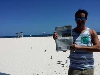 Snowmass Village resident Jay Barmann recently brought along a copy of The Aspen Times to the sandy white beaches of Gulf Shores, Alabama. If you have a photo of you and/or your friends or relatives with a copy of The Aspen Times in a faraway spot (west of the roundabout or east of Difficult Campground will do), send it to rcarroll@aspentimes.com, and look for it in an upcoming Sunday edition.
