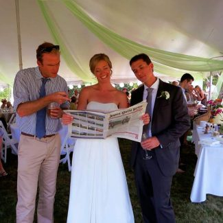 Former Aspen resident Jonathan Bastian, along with bride Natalie Lacy-Travers and groom Andrew Travers, took delight in searching for properly constructed sentences in a recent edition of the Aspen Daily News. Natalie and Andrew, a Daily News writer, wedded last month on Madeline Island, Wisc.