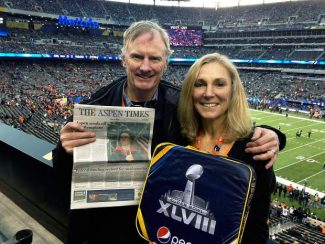 Locals Pete Wycoff and Lori Dresner had a copy of The Aspen Times to help ease the pain of the Broncos' tough Super Bowl loss in Newark, N.J. If you have a photo of you and/or your friends or relatives with a copy of The Aspen Times in a faraway spot (west of the roundabout or east of Difficult Campground will do), send it to rcarroll@aspentimes.com, and look for it in an upcoming Sunday edition.