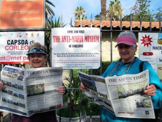 Locals Cynthia Haines and Margot Graham caught up on the Aspen news while visiting the Anti-Mafia museum in Corleone, Sicily, in November. If you have a photo of you and/or your friends or relatives with a copy of The Aspen Times in a faraway spot (west of the roundabout or east of Difficult Campground will do), send it to rcarroll@aspentimes.com, and look for it in an upcoming Sunday edition.