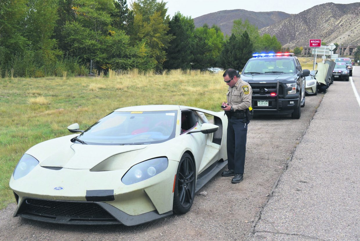 Officers from the Eagle County Sheriff's Office, Avon Police Department and Colorado State Patrol were all present when the drivers of three Ford GT supercar prototypes were were pulled over in Avon.