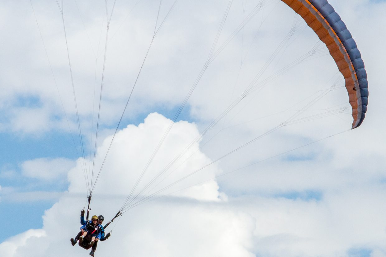 Ruth Barber, who is in her late 70s, made her second paragliding trip Thursday morning.