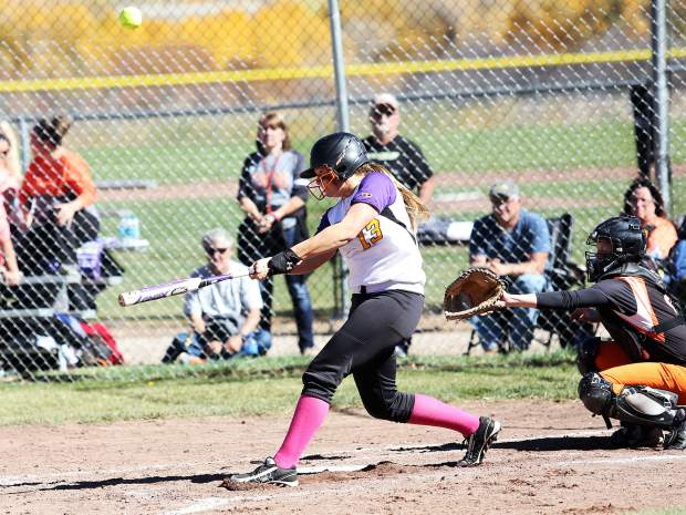 Basalt junior Emily Hendershot fouls off a pitch against Sterling on Saturday.