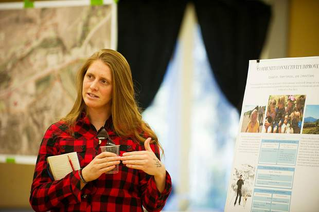 Molly Somes, a landscape architect intern for the City of Aspen's parks department, clarified some questions proposed by the public at the open house held at the Red Brick Center for the Arts Thursday evening regarding the Cozy Point Ranch Management Plan.