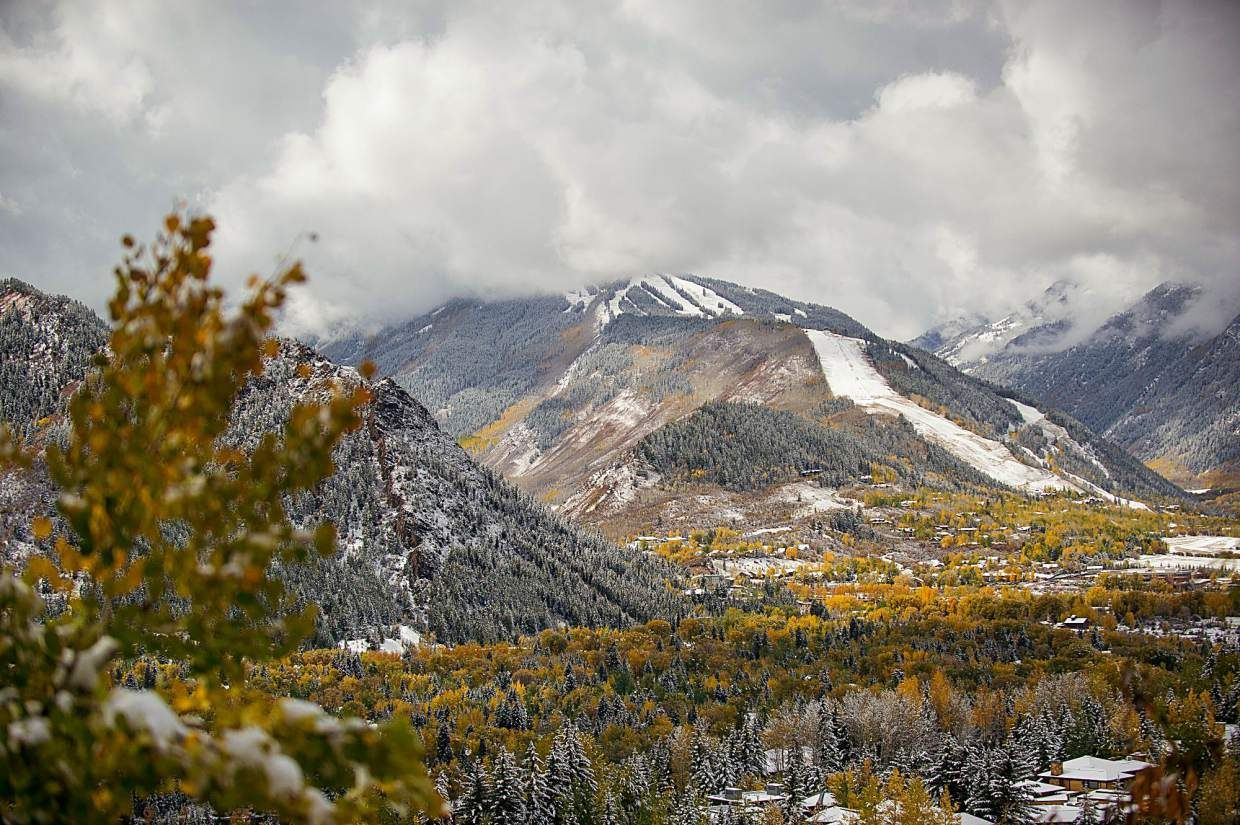 Snowy Aspen Highlands on Thursday from Red Mountain Road.