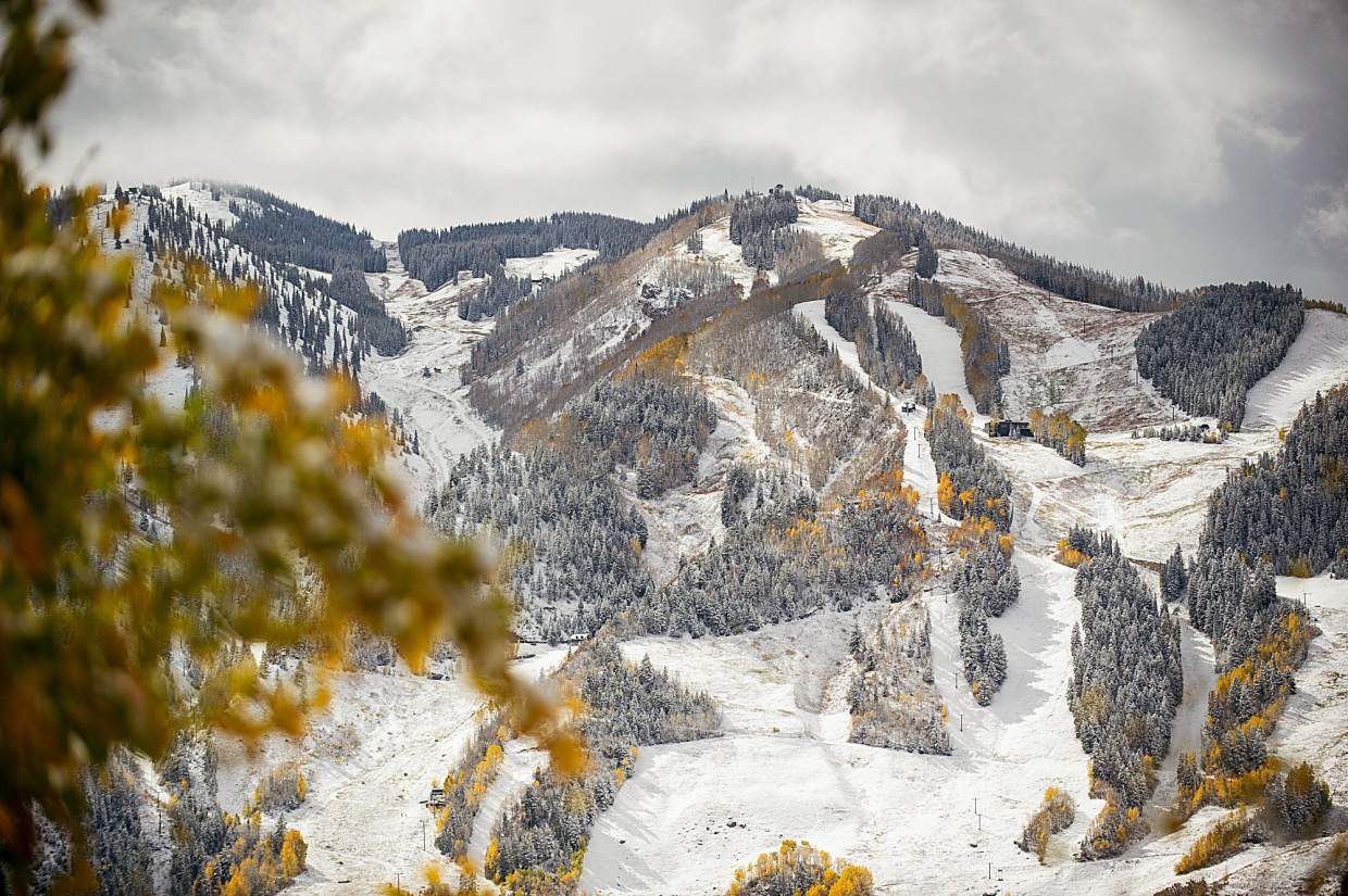 Snowy Aspen Mountain up Red Mountain Road on Thursday.