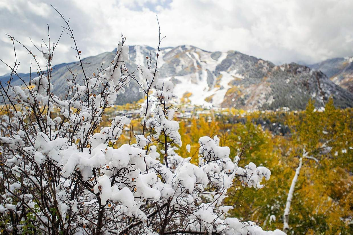 Snowy Aspen Mountain on Thursday up Red Mountain Road.