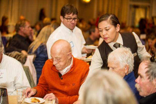 Staff and volunteers worked hard at the 9th Annual Community Free Farm-to-Table-Meal hosted at the Hotel Jerome Ballroom by Aspen TREE on Tuesday evening serving over 1000 guests.   Guests participated in the early Thanksgiving celebration with local chefs preparing locally grown food.