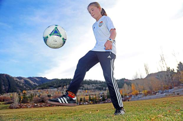 Aspen seventh-grader Jenny Ellis will compete in a soccer accuracy contest in Kansas on Sunday.
