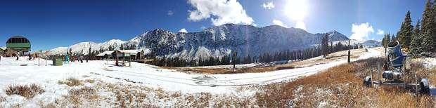 A panoramic photo of Arapahoe Basin Ski Area from the top of Black Mountain Express on Nov. 2. A-Basin snowmakers need temperatures to hit 25 degrees and ideally stay in the teens at night for snowmaking operations to be successful.