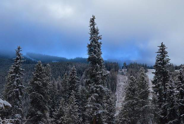 A view of the frontside runs at Keystone Resort around 8 a.m. on Nov. 3 after the first natural snowfall since mid-October. On Nov. 1, the resort announced it will delay its original opening day, from Nov. 4 to Nov. 11, when above-average temperatures forced snowmakers to halt operations.