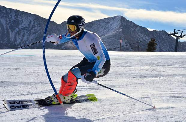A skier whips through the slalom gates during early season training at Copper Mountain on Nov. 16. The resort opened the U.S. Ski Team Speed Center in early November for American and national team training, despite low snow through October.
